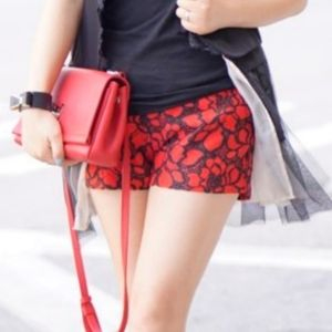 🔖EXPRESS |Red & Black Embroidered Lace Shorts